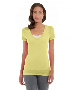 Karissa V-Neck Tee-S-Yellow